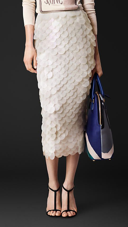 @Burberry Opaque Sequin Embroidered Pencil Skirt ~ I totally adore these... the green one is also nice and I wish it was almost mermaid hombre like teeheehee  $3,295.00   Item 45227421 Colour: WHITE