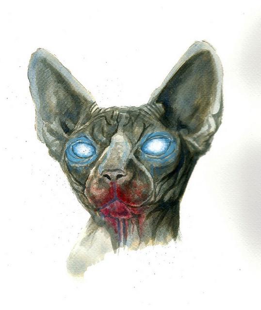 zombie sphynx cat 1 rough sketch by Rebel Monkey Tattoos, via Flickr