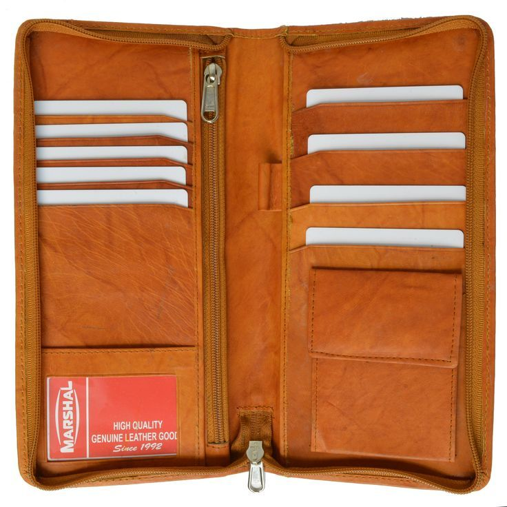 9088e026bce8 Zip Around Leather Travel Wallet with Passport and Boarding Pass ...