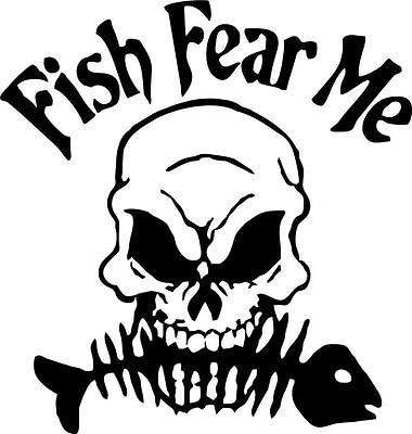 Fish Fear Me Vinyl Decal Sticker Ice Fishing Jig Bass Tackle Lure ...