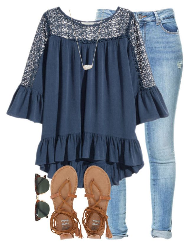 """lol"" by elizabethannee ❤ liked on Polyvore featuring Zara, Billabong, Ray-Ban and Kendra Scott"
