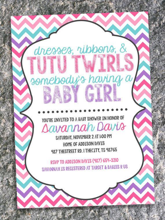 tutu twirls baby shower invitation pink by chevronandpolkadots