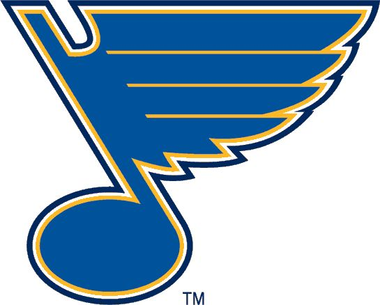 St. Louis Blues Logo - A light blue musical note outlined in yellow and navy