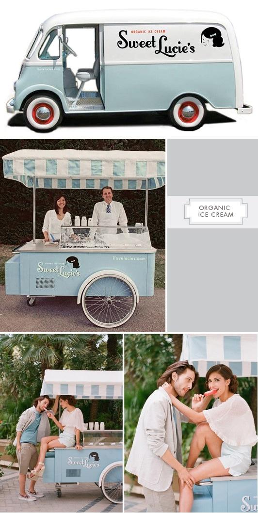 Sweet Lucie's Organic Ice Cream (Los Angeles, California). Love the retro feel. Truck & Cart rentable in the LA area.
