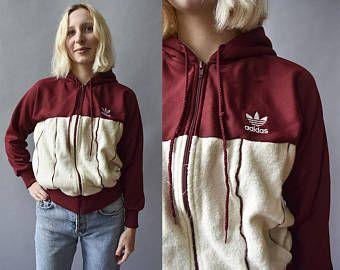 Vintage marrón chaqueta Adidas vendimia Terricloth Hoodie / Adidas Hoodie / sudadera con capucha con cremallera vendimia Adidas / XS Adidas con capucha chaqueta