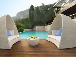 couches by the pool