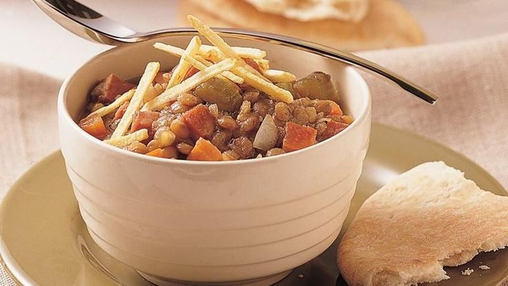 Two steps and a short list of ingredients results in a savory stew loaded with ham and lentils.