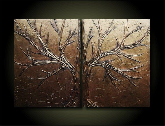 Items Similar To Copper Love Tree Set Earth 24x36 Unique Sculptural Abstract Set Of Original Paintings On Etsy With Images Painting Abstract Original Paintings