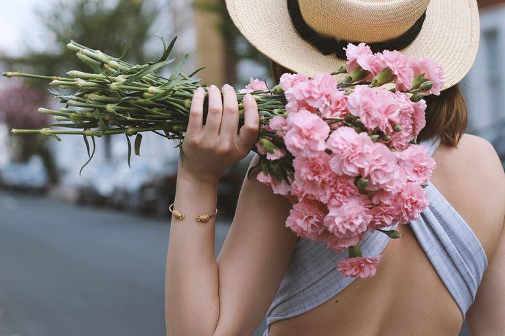 pink carnations & golden bangle