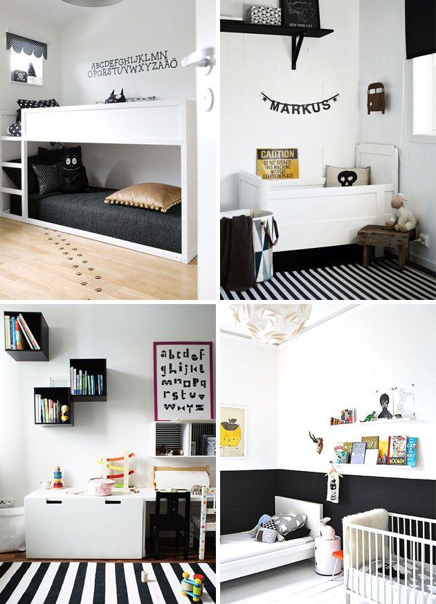 monochrome black and white kids room   yellow