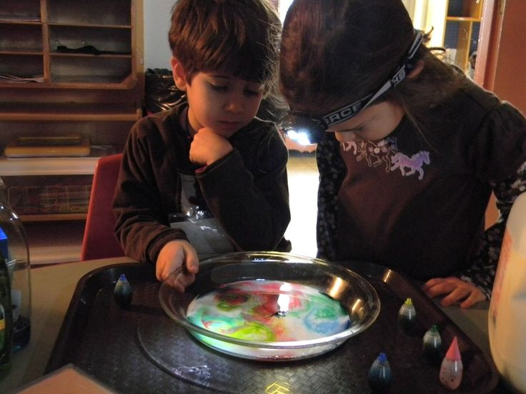 Magic milk experiment that involve colour mixing. Great for investigating colour and developing inquiry skills. (Light and Color - The Children's School Kindergarten)