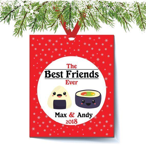 Best Friends Ever Christmas Ornament Sushi Sashimi Japanese Foods Emoji Best Friend Bff Ornament Co Worker Christmas Ornaments Bff Ornament Christmas Humor