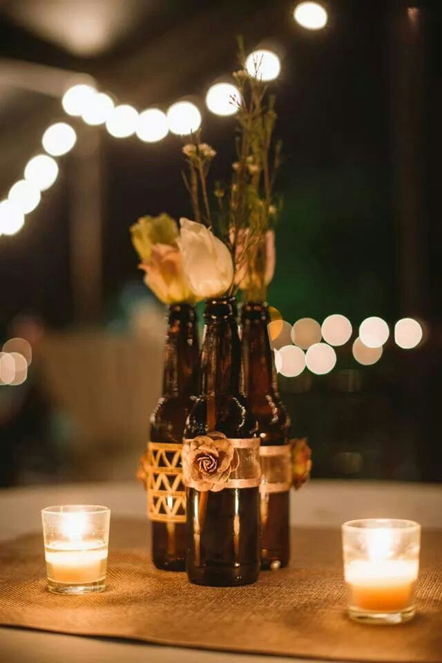25 cute beer bottle centerpieces ideas on pinterest for Beer bottle decoration ideas