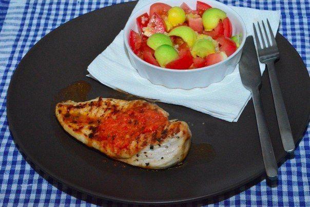 Куриное филе с составным маслом и красным болгарским перцем   Kurkuma project (Проект Куркума) Определить готовность мяса можно проткнув его ножом: если вытекающий сок чистый, прозрачный и не розовый — значит, мясо готово.
