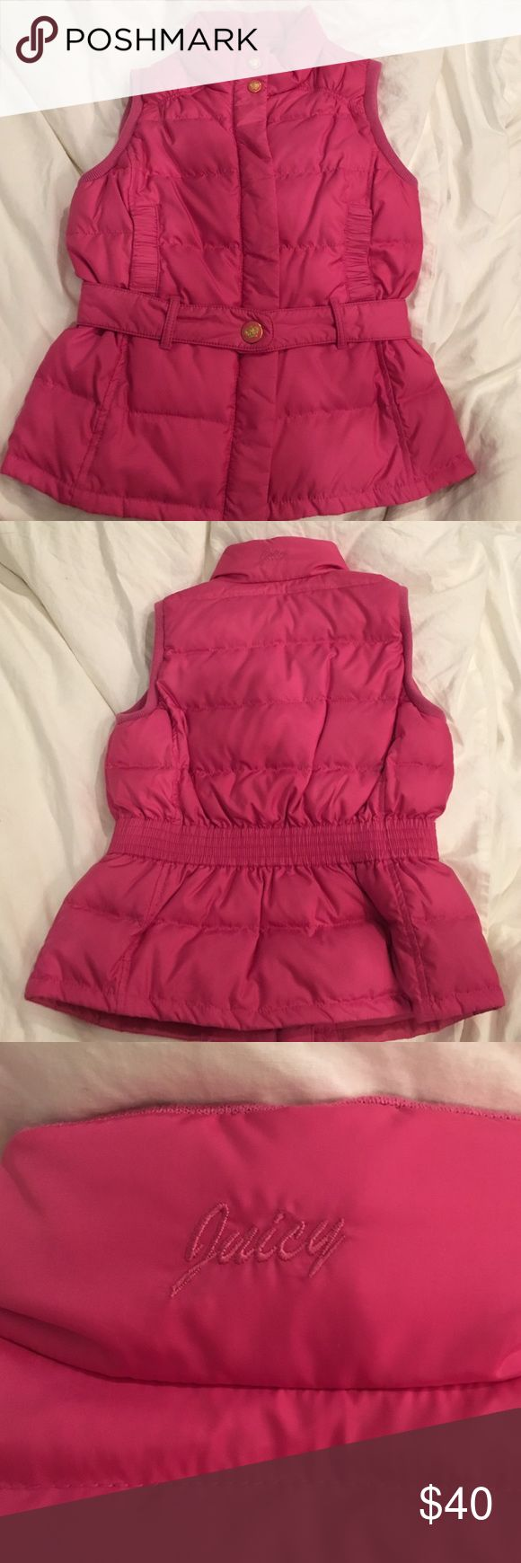 Authentic Juicy Couture Kids 10 Pink Vest Barely used, perfect condition. Honestly the cutest best I've ever seen. Belted with gold juicy buttons. Pockets. Kids 10 Juicy Couture Jackets & Coats Vests