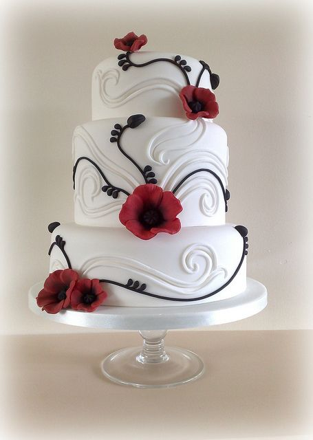 black, white, and red cake