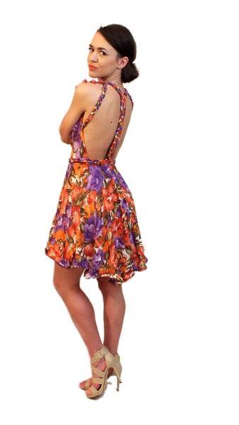 Sukienka w kwiaty z warkoczami na plecach w MARACHIC na DaWanda.com