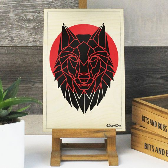 Geometric Wolf Print on Plywood, Cool Animal Graphic,  Origami inspired Animal Print, great gift for guys