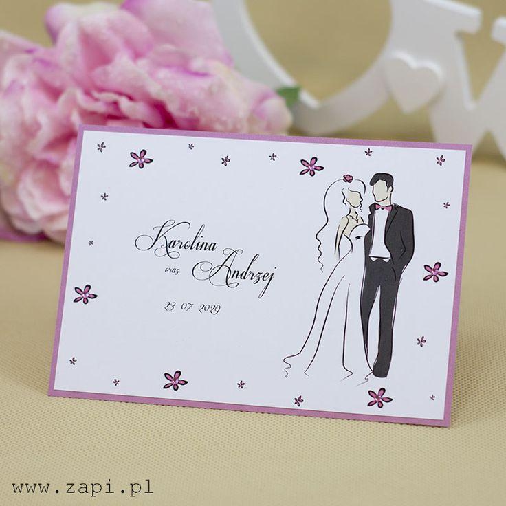 Bajeczne zaproszenie ślubne utrzymane w różowej barwie z dekoracją różowych kryształków
