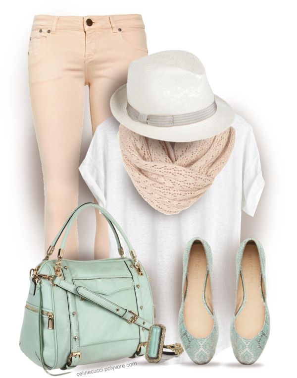 Casual pastel spring outfit polyvore