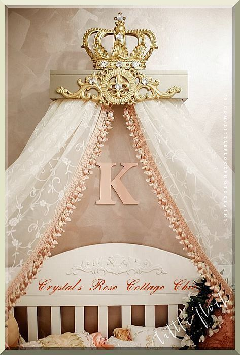 Champagne and Gold Fleur de Lis Bed Crown Canopy Teester Color Choices Bedroom/Nursery/Sweet/Dessert Table Party Decor, Princess/ Prince