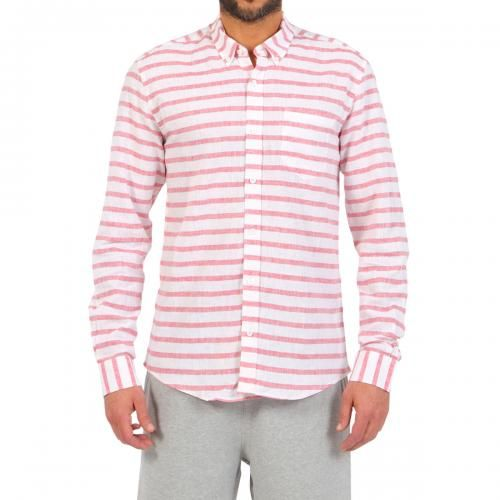 WHITE STRIPED COTTON AND LINEN SHIRT WITH CHEST POCKET - White striped cotton and linen shirt with chest pocket. Long sleeves, buttoned cuffs. Buttoned collar. Front button closure. #mrbeachwear #stripes #summer #fashion #men #style #boardshort #sun #onlineshop #2014 #red #saturdayssurf