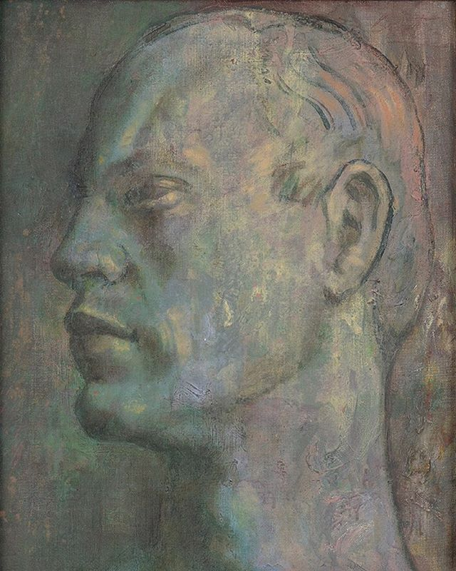 Previously with Philip Mould & Co.: Painted by the famous photographer and designer Cecil Beaton, this powerful and almost sculptural portrait depicts Beaton's partner, the American Olympic fencer Kinmont Hoitsma. This painting remained in Hoitsma's possession until his death in 2013. 50.8 x 40.7cm. #cecilbeaton #photographer #modernbritish #portrait #sculptural #olympics