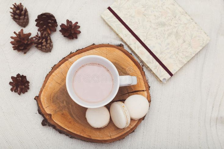Download Hygge. A Cup Of Cocoa Stands On A Wooden Tray, Beside Lie Cones Stock Photo - Image of plaid, style: 93295194