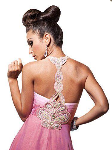 Tony Bowls Paris 113714 Beaded Halter T-Back Long Ombre Chiffon Prom Dress