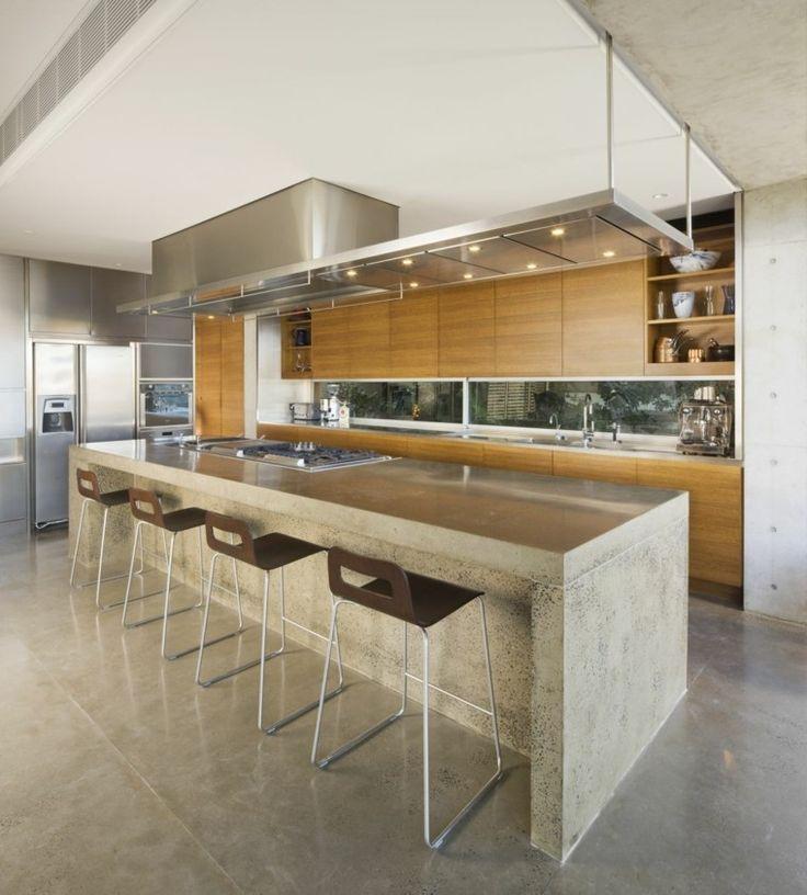 cocina moderna con elementos de hormigón