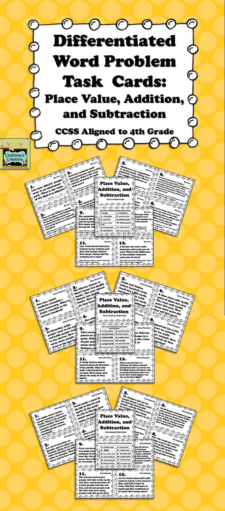 Set of 36 place value, addition, and subtraaction task cards aligned with 4th grade CCSS! Three subsets of cards: review, extra practice, and enrichment. Each set contains 12 word problem task cards. The review cards have hints for the students. The enrichment cards include multi-step problems and involve higher level thinking skills. These task cards are great for early finishers, small group practice, individual review or enrichment, or test preparation! $ #taskcards…