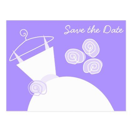 #savethedate #postcards - #Wedding Gown Purple Save the Date horizontal Postcard