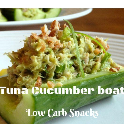 Cucumber Tuna Boat #cucumbertunaboats #Ketosnacks #tunacucumber