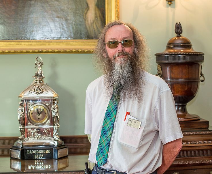 Culzean Castle - 'Bloodhound clock'.  Gordon Potter, Guide, talking about his favourite item.  You can see this beautiful clock in the Dining Room of Culzean Castle.