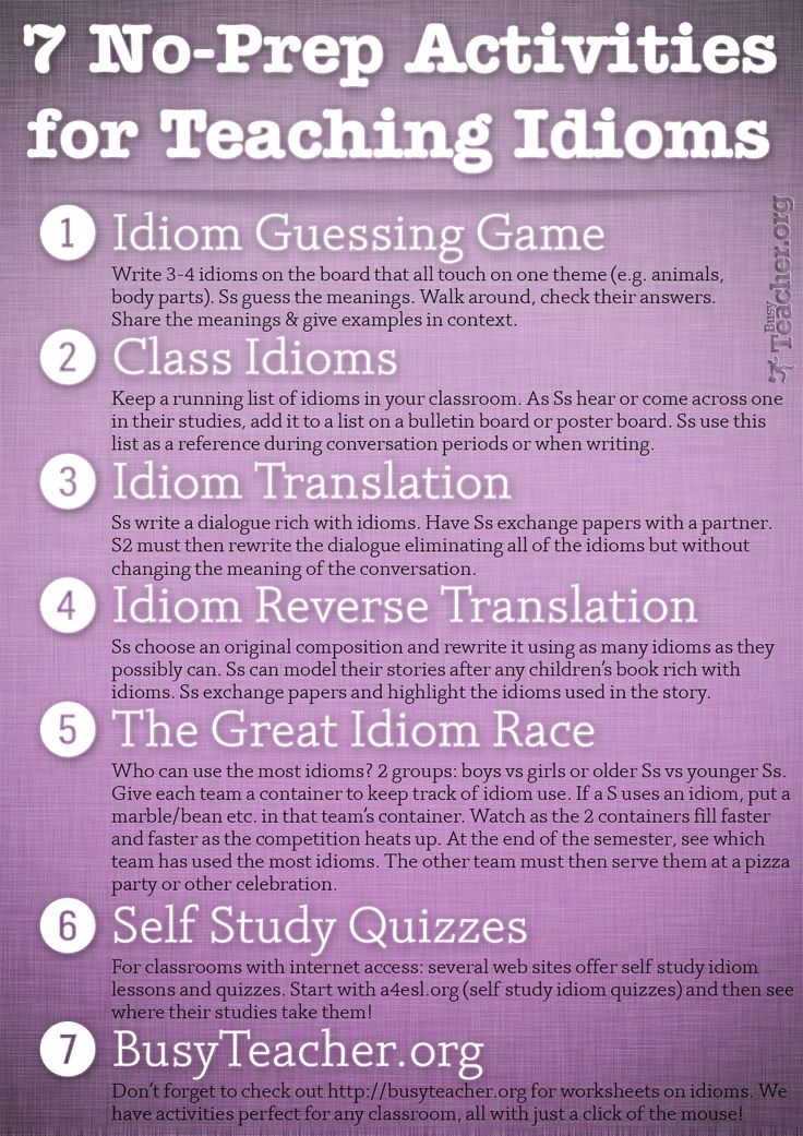 POSTER: 7 No-Prep Activities for Teaching Idioms