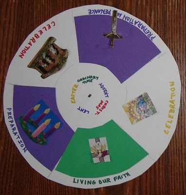 "Liturgical calendar, labels seasons ""Celebration"" or ""Preparation""- This lady has some really awesome Catholic crafts!"