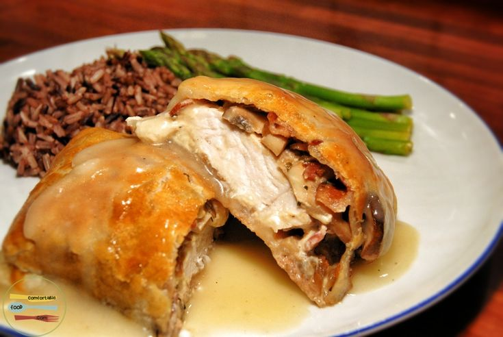 A dish similar to beef wellington only using chicken, mushrooms, bacon and cream cheese..What's not to love!