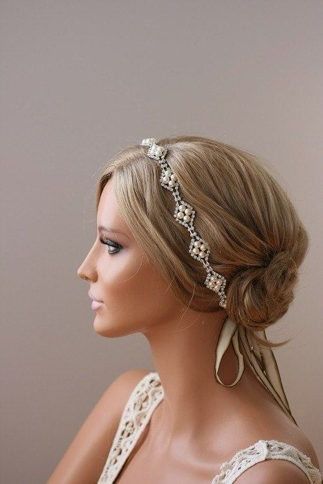 Rhinestone Headband Grecian Headpiece Halo Headpiece by ORNENT, $89.00