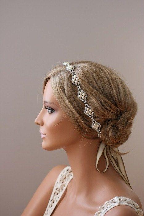 Rhinestone Headband, Grecian Headpiece, Halo Headpiece, Crystal Headband, Bridal Stretchable Headband - CLOVER. $89.00, via Etsy.