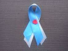 This is the new Type 1 Diabetes Awareness ribbon, Blue, Gray, with a red drop in the middle.