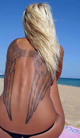 angel wing back tattoos | ... angel wing tattoos once in a