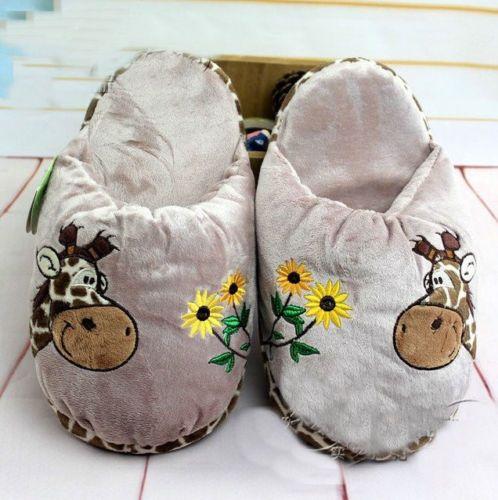 NICI Giraffe Deer Plush Indoor Slippers Shoes 1 Pair New 3 | eBay