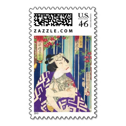 Kabuki Actor Portrait Waterfall Toyohara Kunichika Stamps