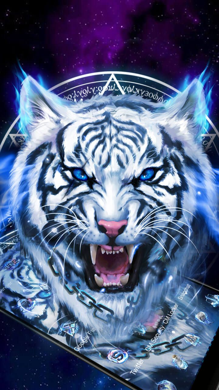 Wallpaper Predator 3d Fearless Ice Neon Tiger Wallpaper Theme Wildlife