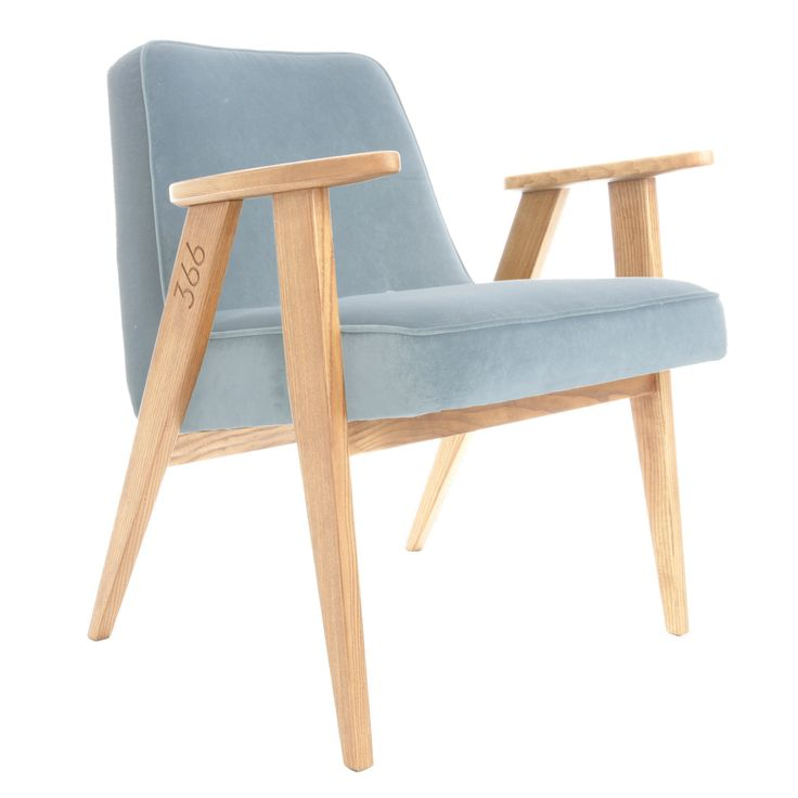 366 easychair in Sky Blue colour - VELVET collection.