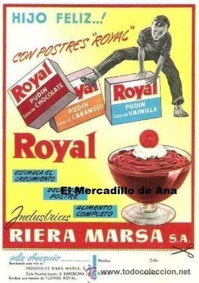 PUBLICIDAD DE  FLAN ROYAL RIERA MARSÁ BARCELONA ANUNCIO DE PRENSA CARTEL PEQUEÑO