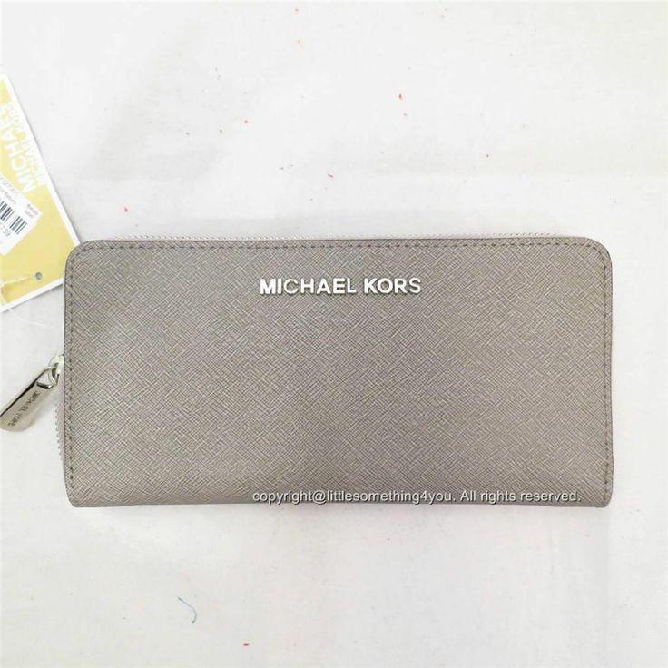 04889bf6c29b MICHAEL Michael Kors 34H3STVE3L Jet Set Zip Around Continental Wallet Pearl  Grey MICHAELMichaelKors ZIPAROUND .
