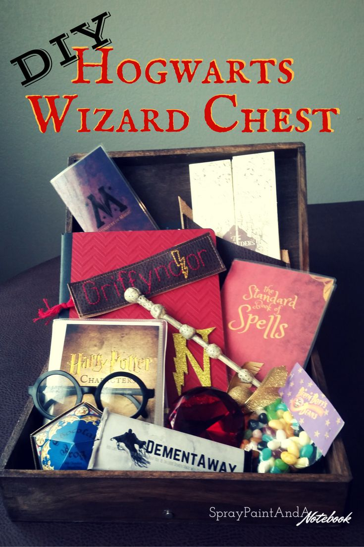 Ultimate DIY Harry Potter wizard treasure chest and kit! Hogwarts house customized. With free printables! DYI instructions for wands, character encyclopedia, spell book (standard book of spells cover), Ministry of Magic Identification, marauder's map, house ntoebook, dementor chocolate, Bertie Botts beans, sorcerer's stone, leather bookmarks, and more!