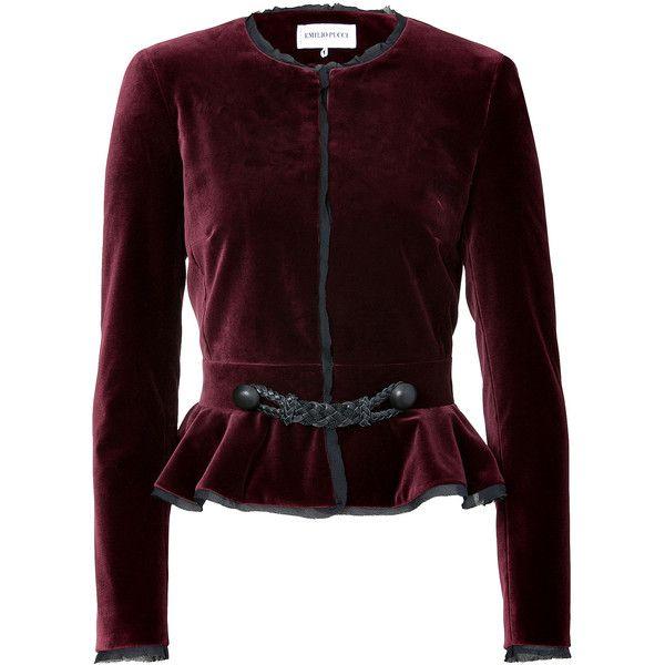 EMILIO PUCCI Burgundy Velvet Peplum Jacket ($1,746) ❤ liked on Polyvore
