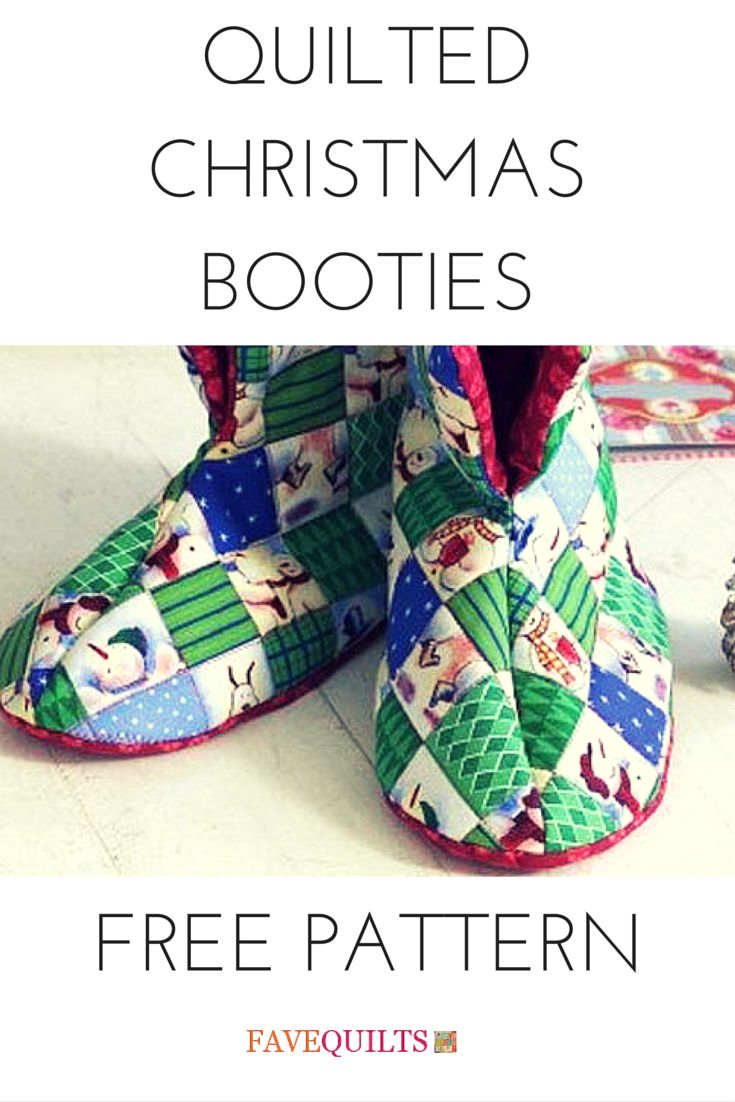 Quilted Slippers in a Christmas motif. Find the pattern and directions here!